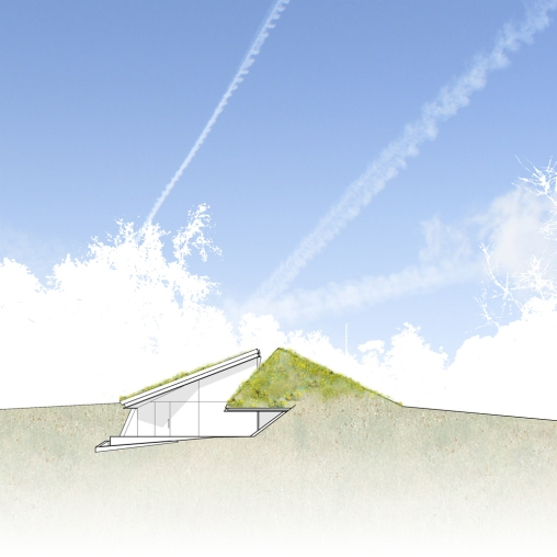 Folded Earth Dwelling SOUTH ELEVATION pure line