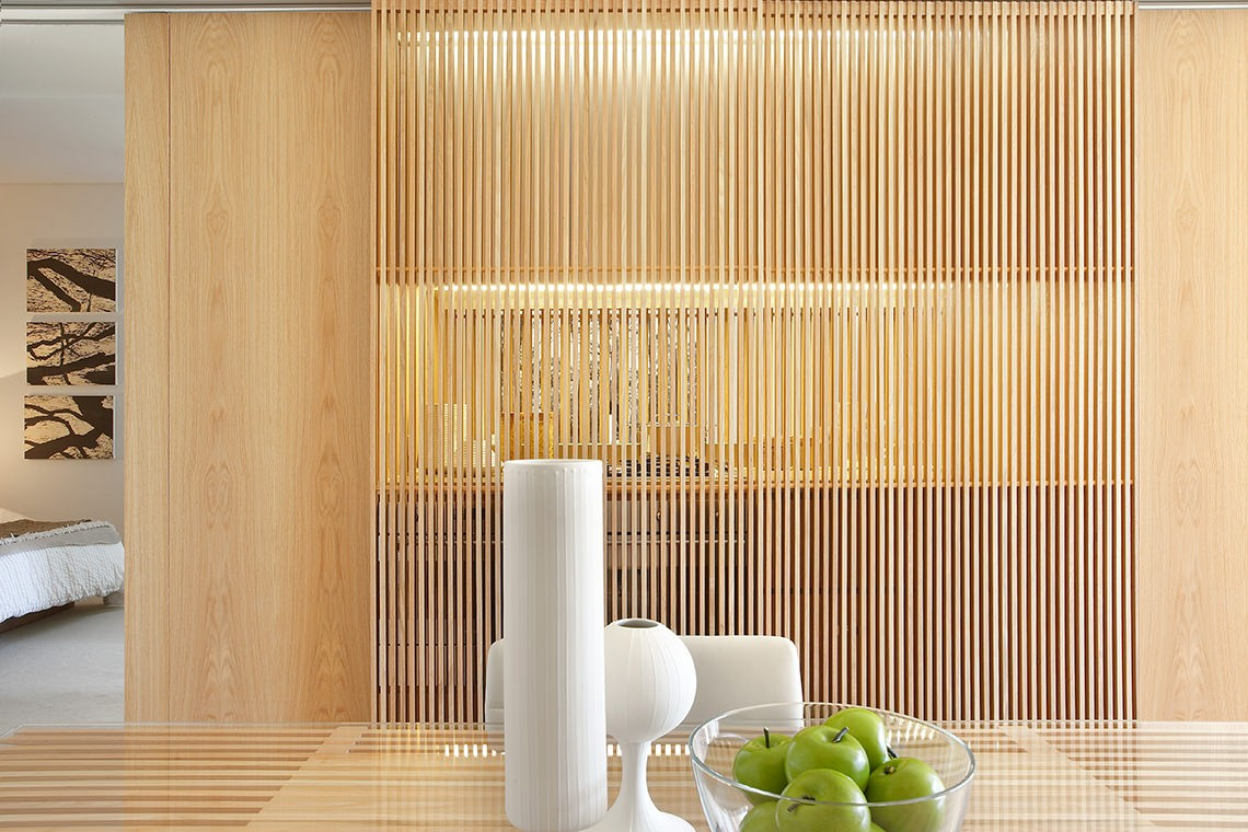 One central park east interior by koichi takada architects for Sliding timber screens