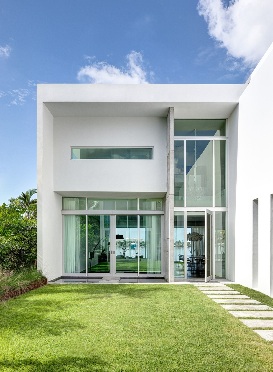 MIAMI, FL - JUNE 21, 2014: Home of Jerome and Isabelle Peribere in Miami, Florida. Architect, Max Strang.