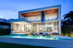 MIAMI, FL - JUNE 21, 2014: Home of Jerome and Isabelle Peribere in Miami, Florida. Architect, Max Strang. Rear elevation and pool. CREDIT: Bruce Buck for the New York Times.