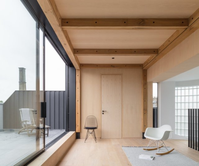 Union-Wharf-Islington-London-Timber-Roof-Extension-Glass-Sliding-Door-Residential-Architect